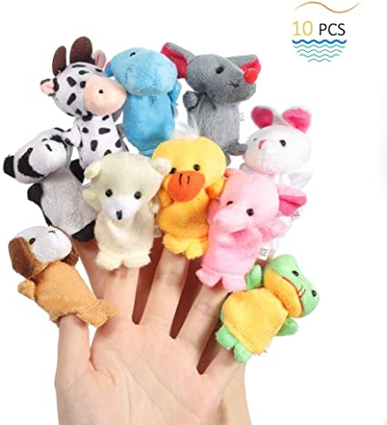 10pcs Cute Animal Finger Puppets Baby Children Kids Story Time Play Toy YS