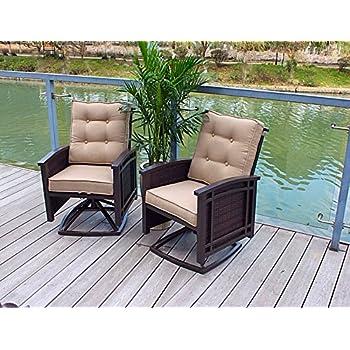 Set Of 2 Cushioned Rocking Aluminum Swivel Dining Chairs