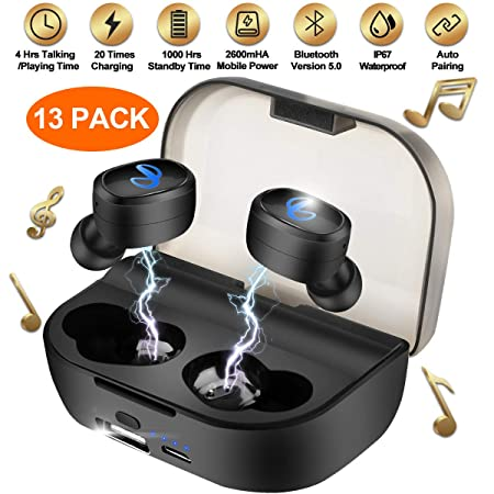 Wireless Earbuds with Charging Case, Bluetooth Earbuds with Mic for Running, Wireless Earphones Bluetooth Earphones with Microphone, Mini Sports Earbuds Sweatproof Compatible iOS Android Smartphone