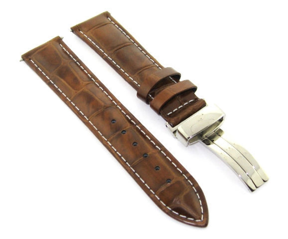 17-18-19-20-21-22-23-24MM Leather Watch Band Strap Deploy Clasp for MONTBLANC #1 Light Brown