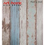 Arthome 31.6 Square Feet Blue Distressed Wood Decorative Self-Adhesive Peel and Stick Wallpaper Décor (200-2)