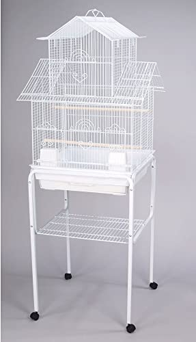 Mcage Canary Finch Parakeet Cockatiel Lovebird Bird Cage with Stand 18x18x58 H White Two Packages