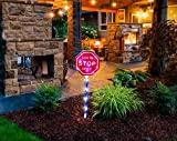 "Fashionlite Solar Powered Stake Lights ""Santa Stop Here"" Sign Garden Yard Stake LED Lights For Lawn White Color STOP01"