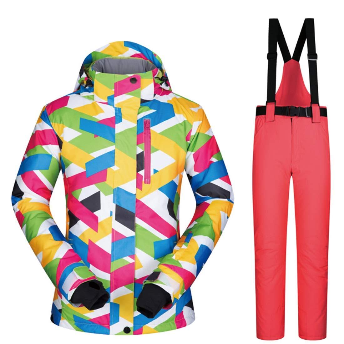 Danankan 女性用スキージャケットとパンツスノースーツ、ゼロコート (色 : 08, サイズ : L)  Large