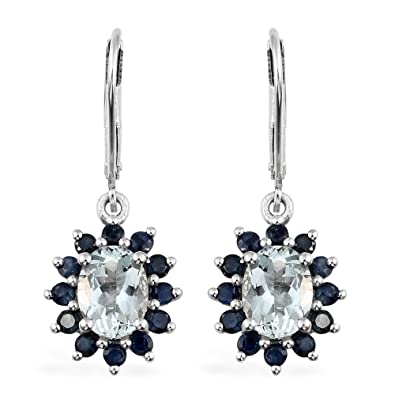TJC Women Platinum Plated 925 Sterling Silver Sapphire and Cambodian Zircon Stud Earrings FdAfi