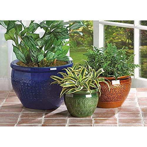 Split Bamboo Shade - 3 PC. azure, topaz and peridot shade CERAMIC JEWEL TONE EARTHENWARE PLANTER POT SET