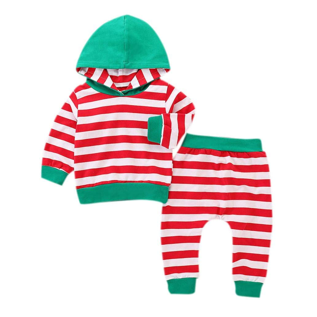 DIGOOD for 0-4 Years,Toddler Baby Boys Girls Stripes Hoodie and Pants,Kids 2Pcs Outfits Autumn Clothing Sets