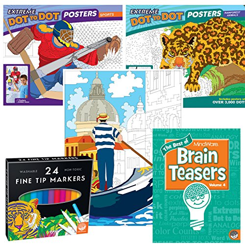 MindWare Extreme Dot to Dot Poster Pack set of 3 with 24 markers and BONUS Brainteaser Book