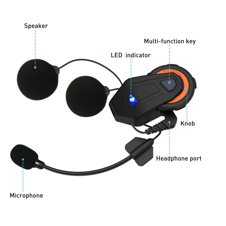 Sistema de comunicación para Motocicleta Casco Bluetooth Interphone 1000M FreedConn T-MAX para 6 pasajeros Intercomunicador grupal: Amazon.es: Coche y moto