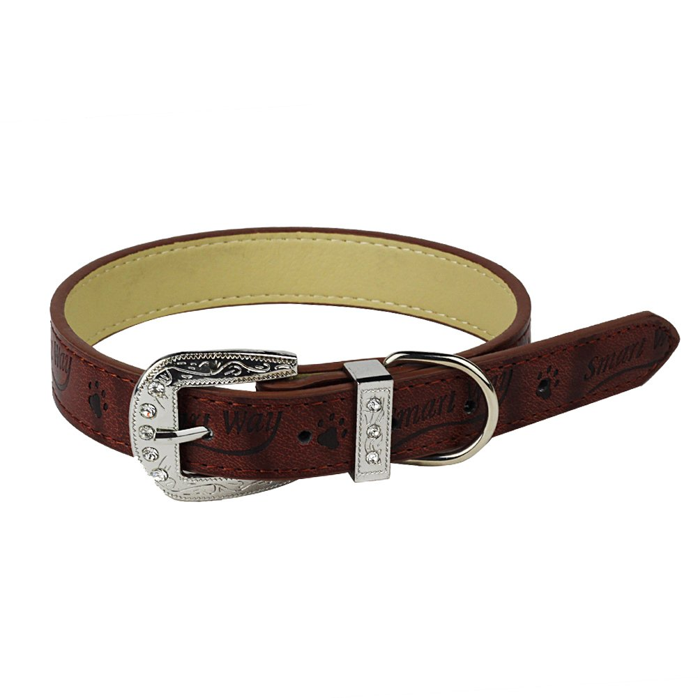 Nuheby Leather Dog Collar Strap Adjustable Soft Sturdy Pet Collars Buckle with Diamond Deluxe Well-Designed 21 Inches Long x 1 Inch Wide for Female Male Dogs (Brown)