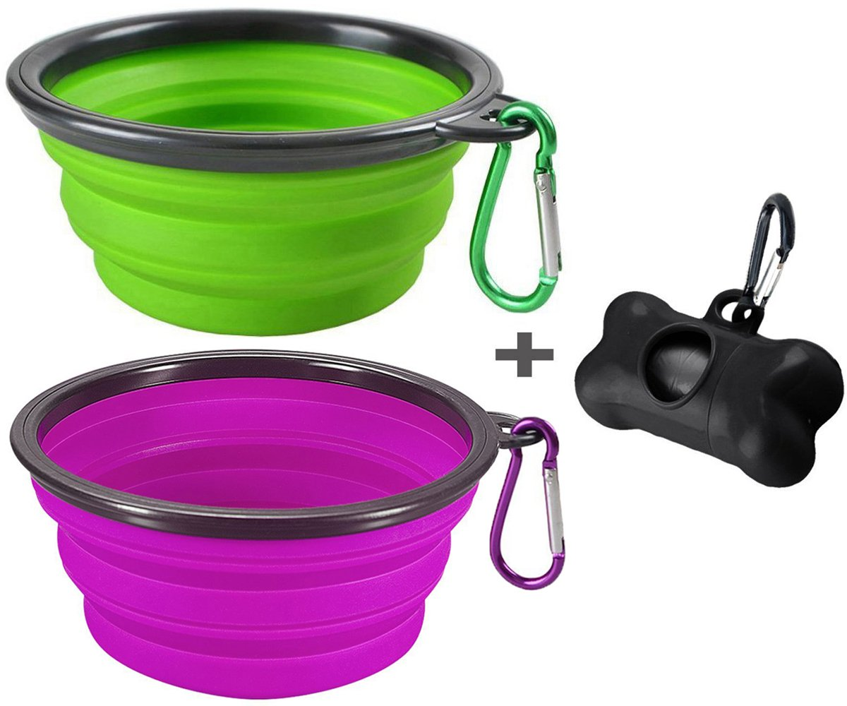 MOGOCO 2 Pack Large Portable Collapsible Dog Bowl,Foldable Travel Bowl Dish Pet Dog Cat Food Water Feeding,Including a Black Poop Bag Holder Dispenser a Roll Bags (Purple Green)
