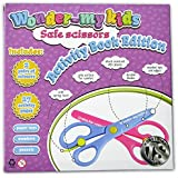 Spring Kids Scissors - Activity Book, Learning Game, Classroom Materials, Homeschool Supplies, Training Workbook - Preschool, Kindergarten, Child-Safe - Toddlers Ages 3+, Blue and Pink