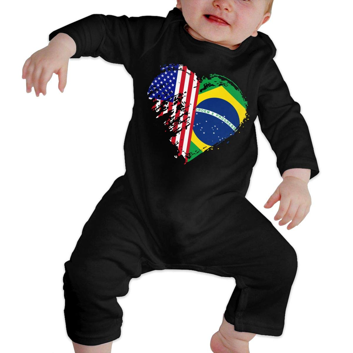 Mri-le1 Baby Girl Jumpsuit Grungy Brazil American Flag Heart Toddler Jumpsuit