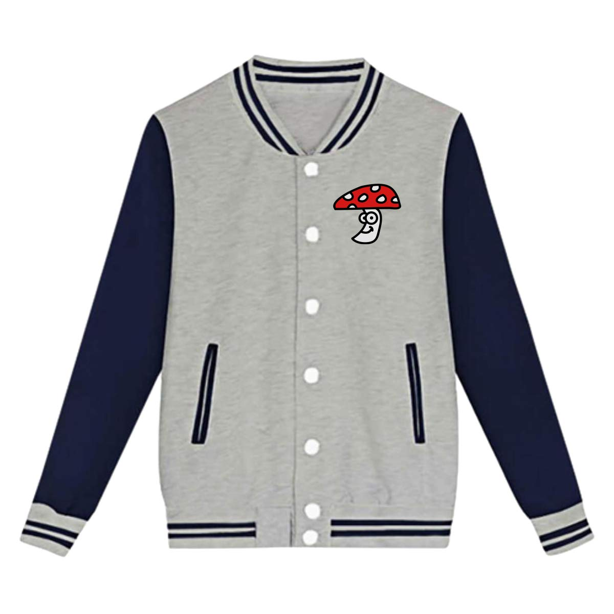 Cute Red Mushroom Baseball Uniform Jacket Sports Coat for Teenagers Unisex
