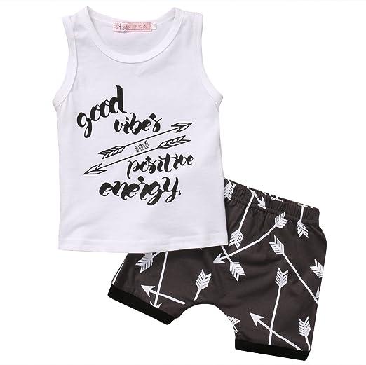 f2726ea11cbb Amazon.com  2pcs Infant Kids Baby Boy T-Shirt Tops+Shorts Summer Outfits  Clothes Set  Clothing