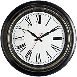 Bernhard Products - Large Wall Clock 18 Quality Quartz Silent Non Ticking, Battery Operated for Home/Living Room/Over Fireplace, Beautiful Decorative Timeless Stylish Clock