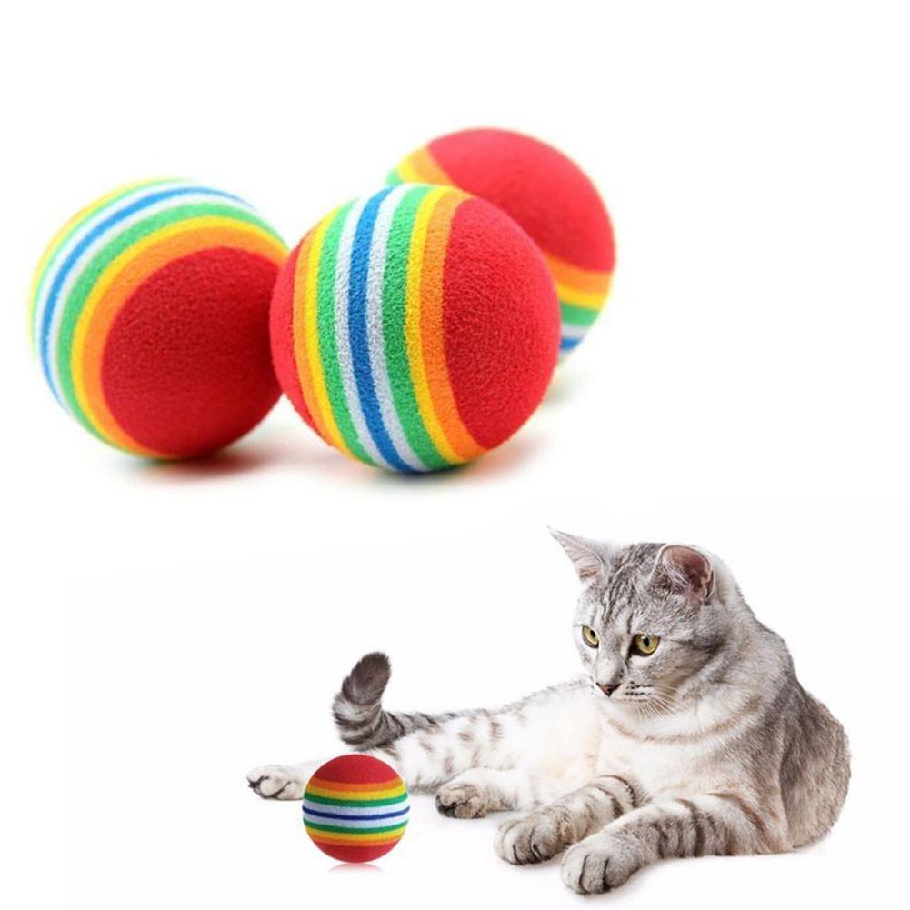 5 Stück Katzenspielzeug EVA Schwamm Ball Pet Tease Toy Hund Katze Ausbildung Spielzeug Cat Dog Toys Regenbogenball Chew Toys von Cool Ring