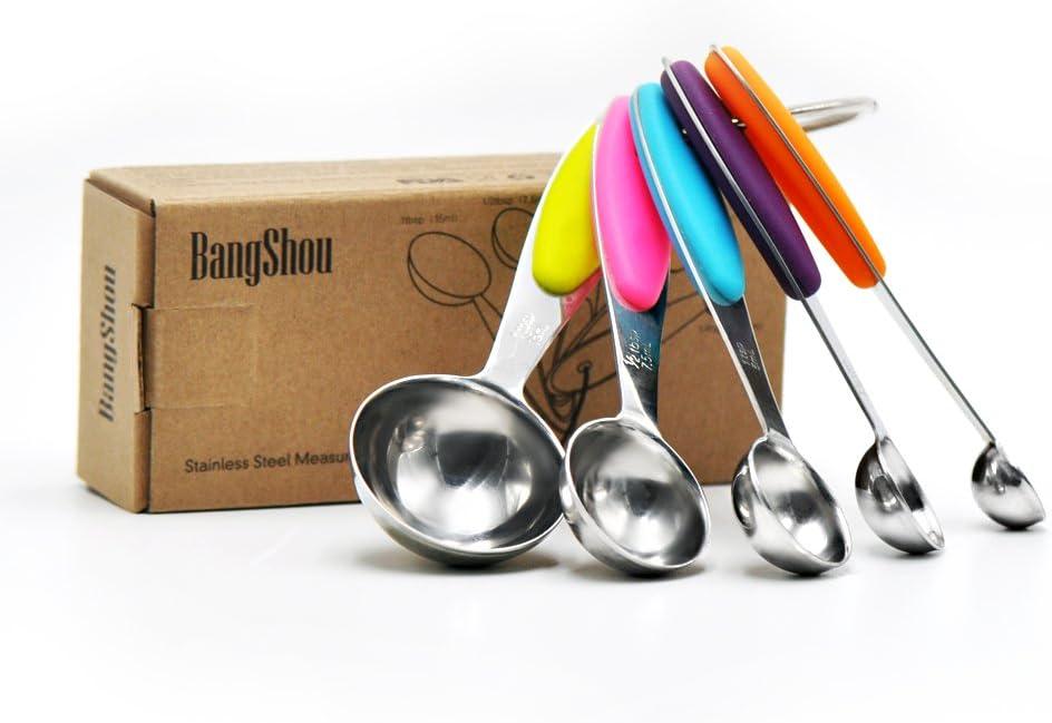 Set de 5 Espejo pulido Upgraded Mango Rainbow BangShou Tazas de Medici/ón y Cucharas Medidoras Set Superior Calidad Acero Inoxidable Con Grabado Medidas