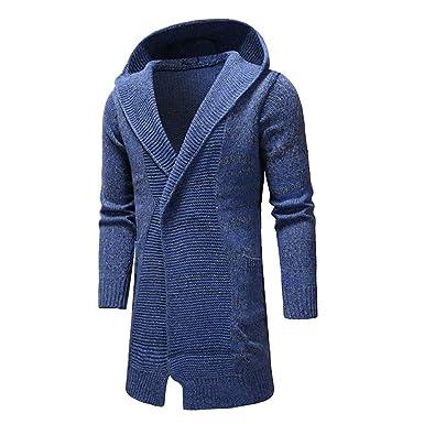 Amlaiworld Chaqueta de Hombre otoño Invierno Cardigan de Manga Larga Outwear Blusa Trench Coat de Punto sólido con Capucha para Hombre: Amazon.es: Ropa y ...