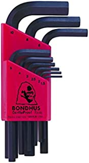 product image for Bondhus 12299 Set of 9 Hex L-wrenches, Short Length, sizes 1.5-10mm