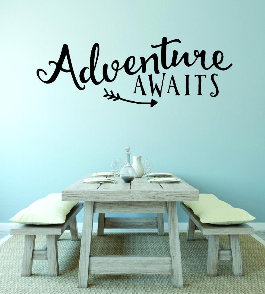 Design with Vinyl RAD V 359 1 Adventure Awaits Love Valentines Heart Home Decor Living Room Bedroom Picture Art Decal 10 x 20 Black 10 x 20