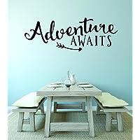 "Design with Vinyl RAD V 359 2 Adventure Awaits Love Valentines Heart Home Decor Living Room Bedroom Picture Art Decal, 14"" x 28"", Black"