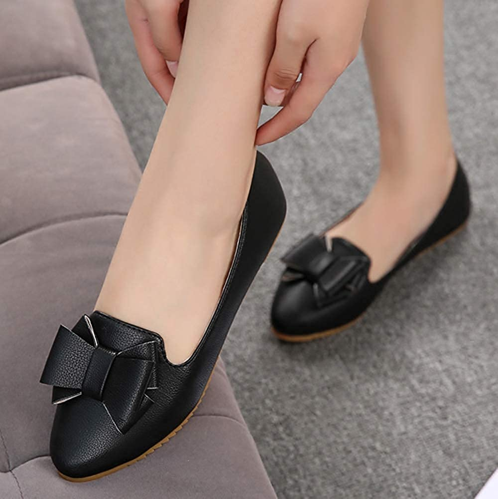 Unm Womens Comfortable Cute Bowknot Low Cut Driving Slip On Pointed Toe Flats Shoes