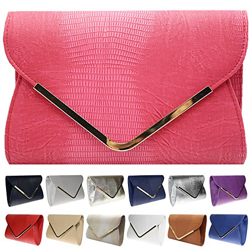 Red Girly Clutch Evening Flat Envelope HandBags Animal Ladies Bag Croc Print Womens Wocharm Exq6nO7fq