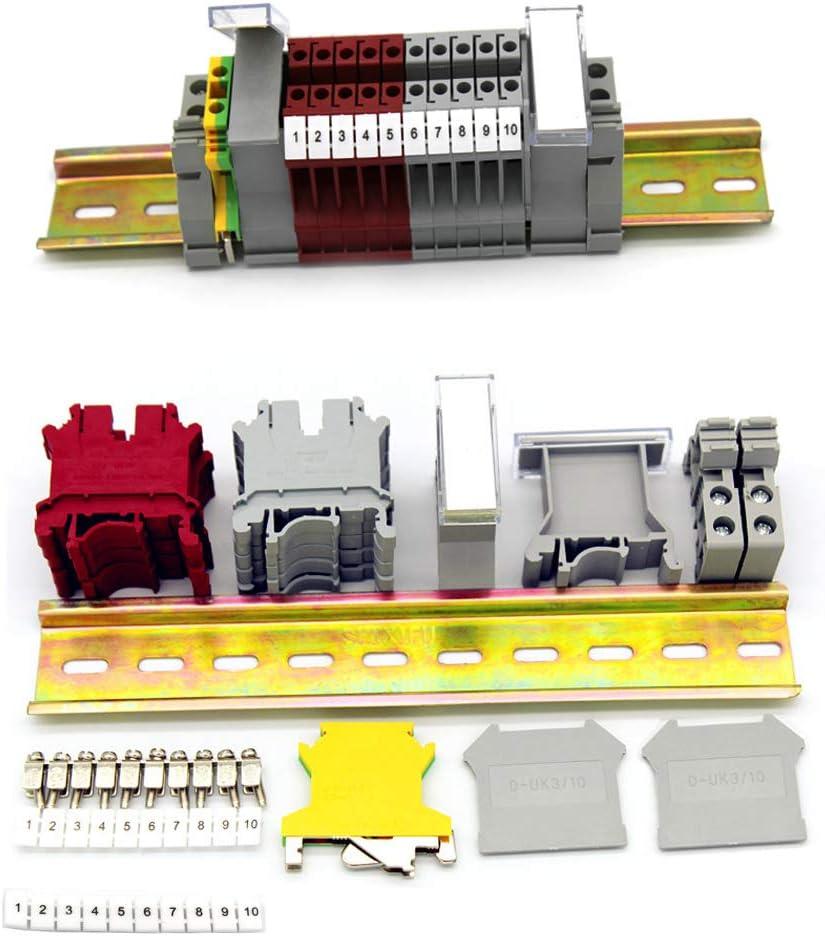 Her Kindness Kit de Bloque de Terminales de Riel DIN UK-5N Kit de Bloque de Terminales Universal Para Bricolaje, Automatización