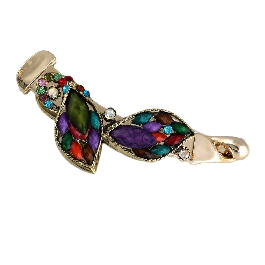 Jili Online Rainbow Colors Delicate Crystal Leaf Hair Barrette with Golden Alloy Metal
