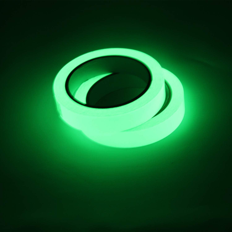 Etiqueta Adhesiva de Cinta Luminosa con luz Verde a Prueba de Agua Suministros de Escenario de Cinta de Advertencia Gwolf Cinta Fluorescente Cinta Luminosa autoadhesiva 10 mm//15 mm x 10 m