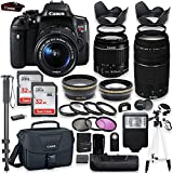 Canon EOS Rebel T6i DSLR Camera with Canon 18-55mm is STM Lens & 75-300mm III Lens Kit + Battery Grip + Canon Case + 64GB Memory + Filters + Macros + Monopod + 50″ Tripod + Professional DSLR Bundle