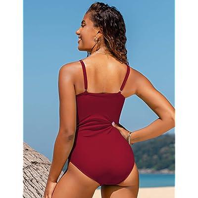 Hilor Womens One Piece Swimsuits Front Twist Swimwear V Neck Shirred Bathing Suit Monokini Tummy Control