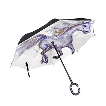 jstel doble capa invertida caballo movimiento Watercolor paraguas coches Reverse resistente al viento lluvia paraguas para