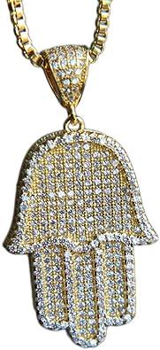 Fashion Necklace Jewelry Supplies GoldRose GoldSilverGunBlack Plated Micro Pave Cubic Zirconia 30x48mm Full CZ Pave Hamsa Hand Pendant