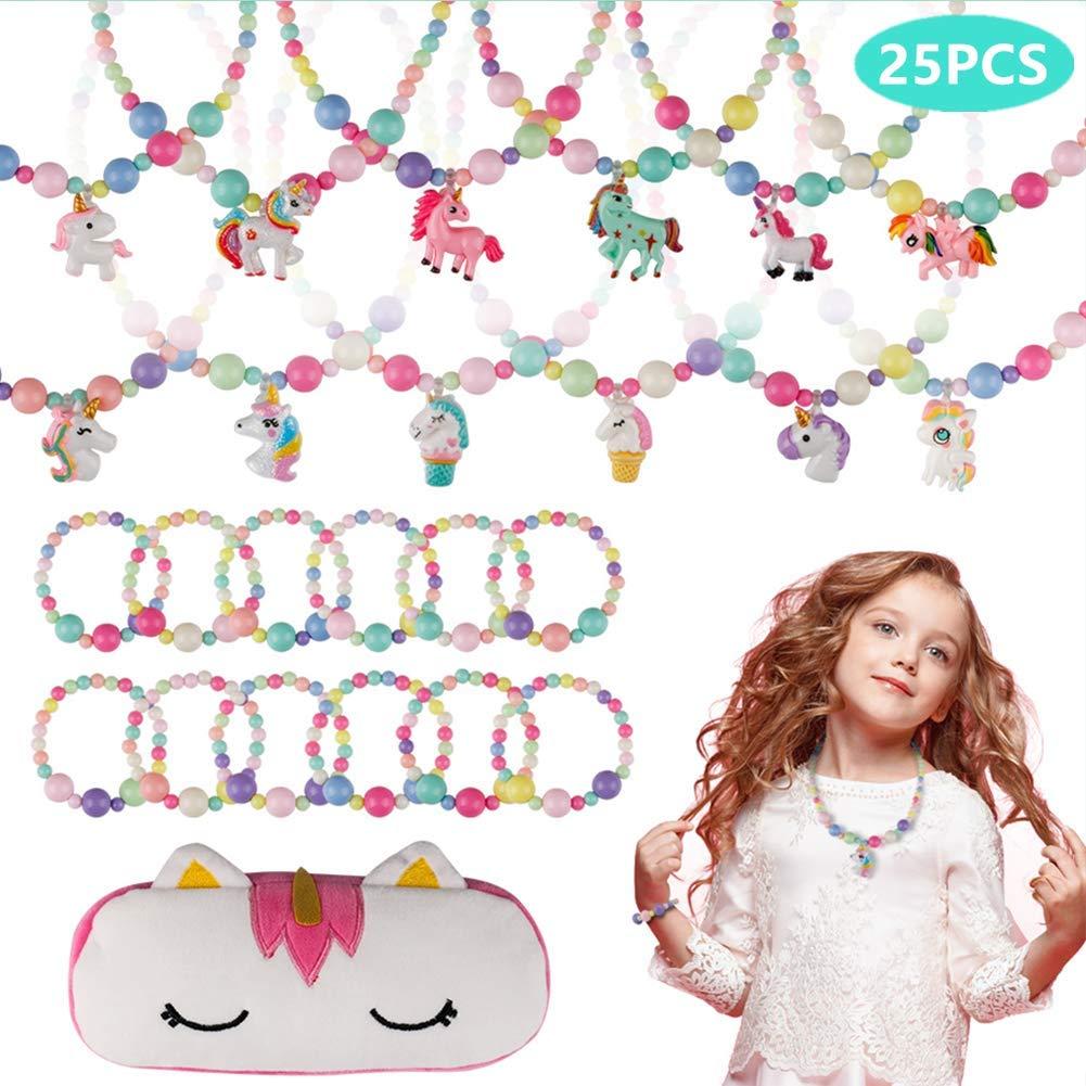 BAOQISHAN 25PCS Girls Beaded Unicorn Necklace and Bracelet Toddler Costume Jewelry Set Jewelry Girls Play Dress Up Pretend Play Jewelry Kit Party Favors Unicorn Gift Bag by BAOQISHAN