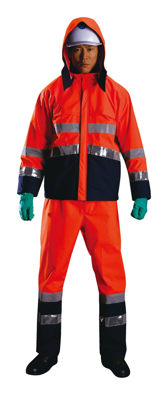 ナダレス レインスーツ 上下 高視認性 ナダレス スーツ 全2色 全8サイズ 蛍光オレンジ 5L 防水透湿 3層レイヤー 止水テープ 8920 B01FGSP91K 5L|蛍光オレンジ 蛍光オレンジ 5L