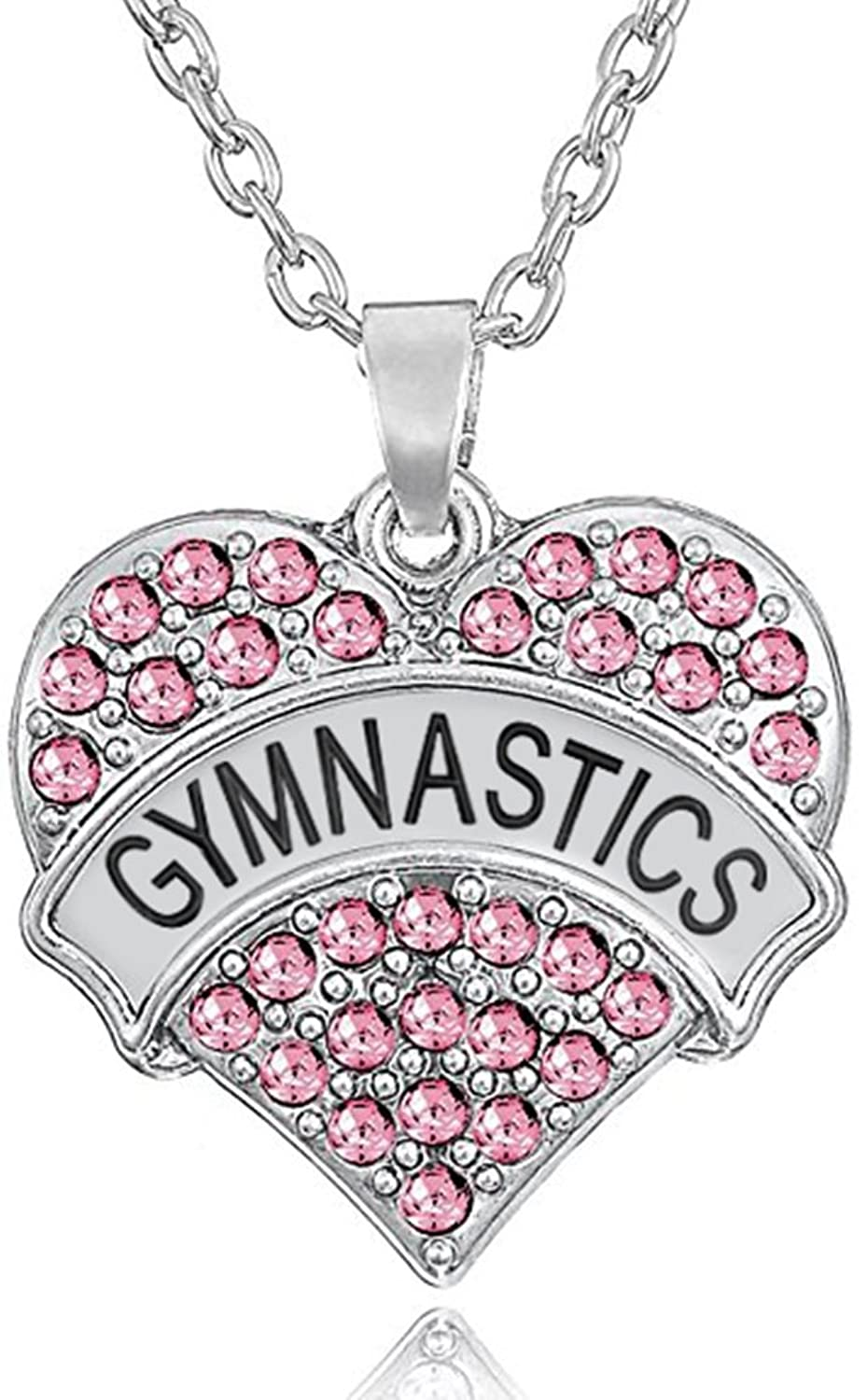 """Silver Tone Crystal Heart Shaped """"GYMNASTICS"""" Charm Pendant Necklace for Girls, Teens, Women"""