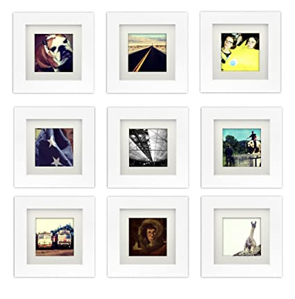 Buy Natural Wood Square Photo Frame 6x6 (5.5x5.5 Window), 4x4 Mat ...