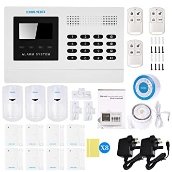 Wired Burglar Alarm System GSM PIR//Door sensor Burglar Voice Prompt  Siren