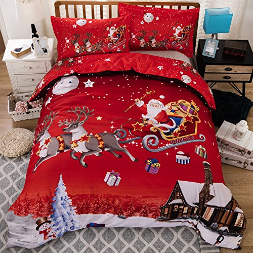 KTLRR Christmas Bedding Set, Elk Santa Claus Snowflake Print Duvet Cover Set Microfiber Bed Cover with Pillow Shams (US QUEEN 3pcs(no flat sheet), Red Christmas) (Claus Santa Snow)