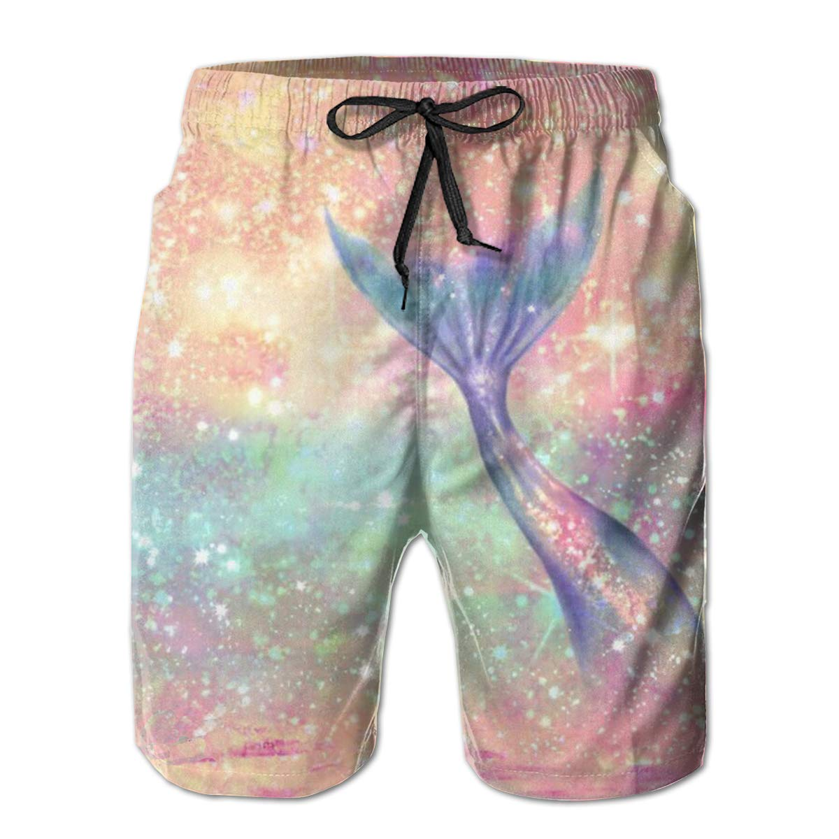 MikonsuGlitter Pink Mermaid Mens Swim Trunks Quick Dry Bathing Suits Beach Holiday Party Board Shorts