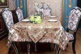 Ethomes Jacquard Weave Dinnning and Tea Table Cloth with Multi-tassels Round square Rectangle Khaki Gold 55.1 x 70.8 inches