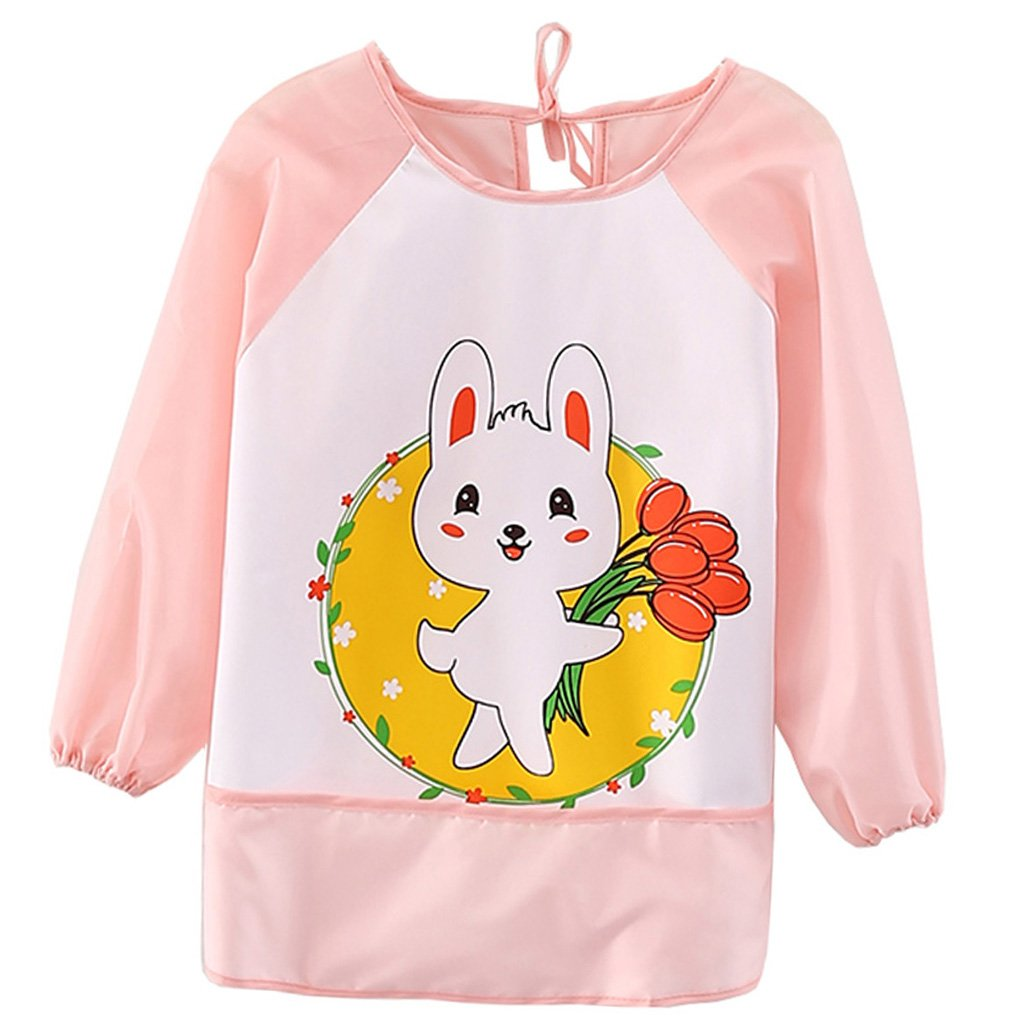 Kids Childs Arts Craft Painting Apron Baby Bib Messy Play Wipe Clean Coverall-Unisex Baby Waterproof Sleeved Bib Eat and Play Smock (Pink-rabbit) babymagic