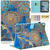iPad Pro 10.5 inch Case, Dteck Pretty Cute Flip Folio Smart Stand Case with [Auto Sleep/Wake] Synthetic Leather Wallet Cover for Apple iPad Pro 10.5'' 2017 Released Tablet-Gold Flower