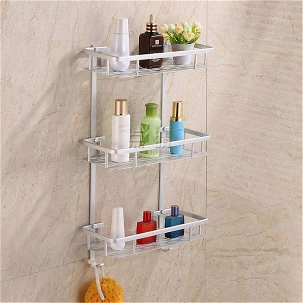 Tuersuer Easy to Assemble Bathroom Shelf Hollow Out Aluminium Bathroom Kitchen Storage Rack Commodity Shelf Sundries Holder (Color : 1 Layer) by Tuersuer (Image #1)