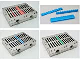 Fedex 3pcs 10 Instruments Cassette Higher With Lock fit elevator & 1 silicone Dental Surgical Sterilization Tray Racks