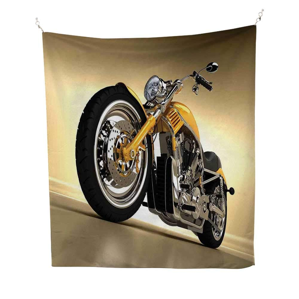 Motorcyclesimple tapestryIron Custom Aesthetic Hobby Motorbike Futuristic Modern Mirrors Riding Theme 60W x 91L inch Art tapestryYellow Silver by Anyangeight