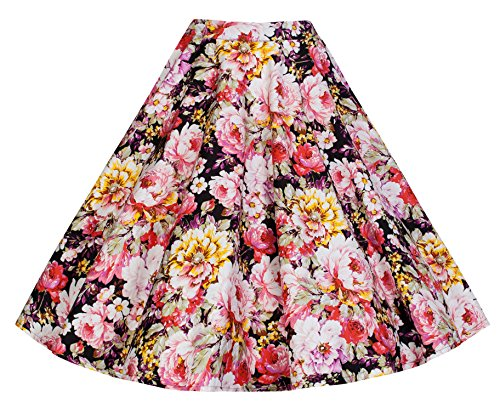 Lindy Bop 'Peggy' Vintage 50's Style Floral Full Circle Skirt (XL, Black Pink)