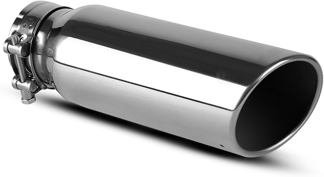 AUTOSAVER88 3 Inch Inlet Exhaust Tip, 3 x 4 x 12 Inch Chrome Polished Stainless Steel Exhaust Tailpipe Tip, Bolt/Clamp On Design.